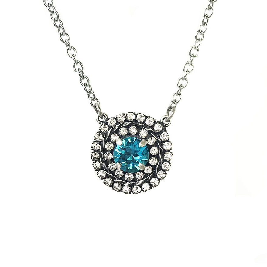sig collection double halo necklace