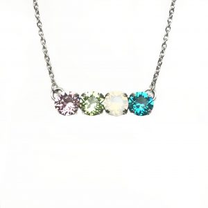 four stone family birthstone necklace