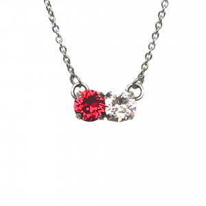 ruby and clear two stone necklace
